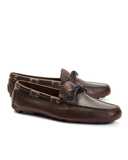 Brooks Brothers | Brown Pebble Leather Driving Mocs for Men | Lyst