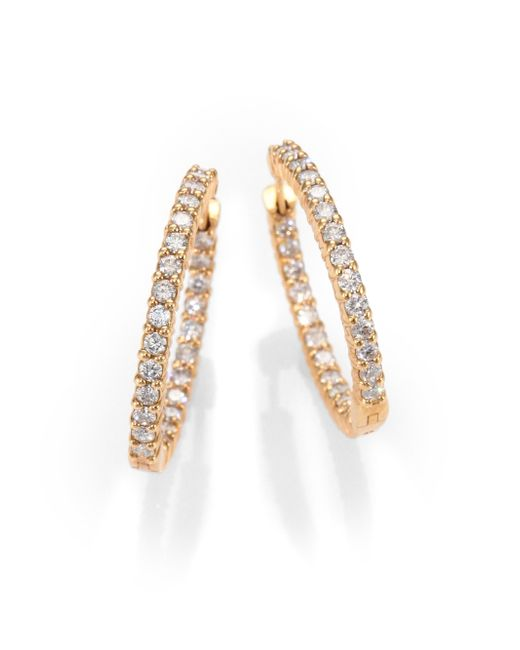 Roberto Coin | Metallic Diamond & 18k Rose Gold Hoop Earrings/0.8 | Lyst