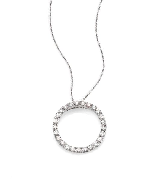 Roberto Coin | 18K White Large Diamond Circle Pendant Necklace | Lyst