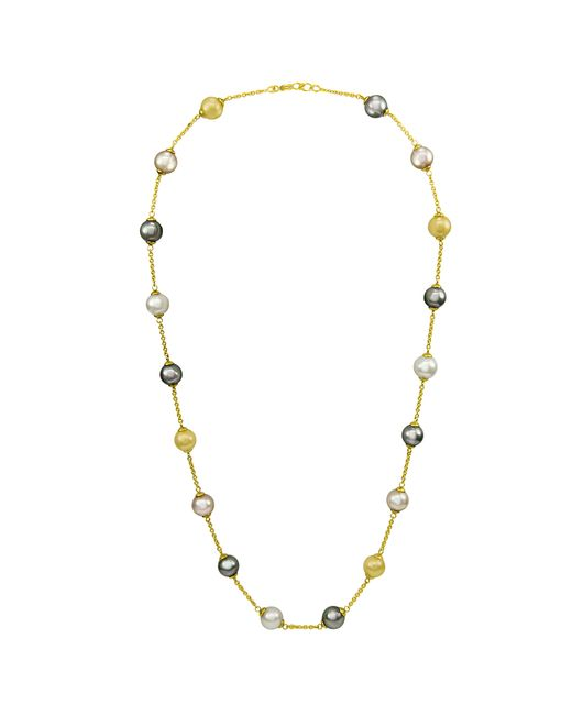 Majorica | White Pearl Necklace, 18k Gold Over Sterling Silver Multicolor Organic Man Made Pearl Illusion | Lyst