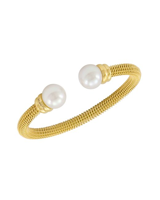 Majorica | Metallic Bracelet, Organic Man Made Pearl And Gold-tone Stainless Steel Bangle Bracelet | Lyst