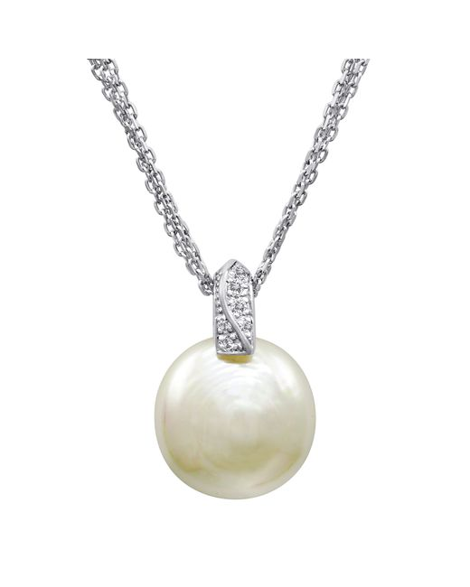 Majorica | White Pearl Necklace, Sterling Silver And Organic Man Made Pearl Pendant With Cubic Zirconia Accents | Lyst