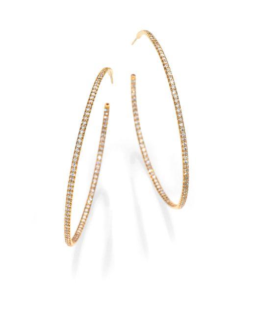 Roberto Coin   Metallic Diamond & 18k Gold Inside-outside Hoop Earrings/2.25   Lyst