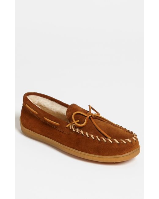 Minnetonka | Brown Suede Moccasin With Faux Fur Lining for Men | Lyst