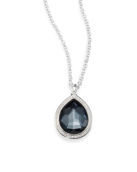 Ippolita | Metallic Diamond, Gemstone And Sterling Silver Teardrop Necklace | Lyst