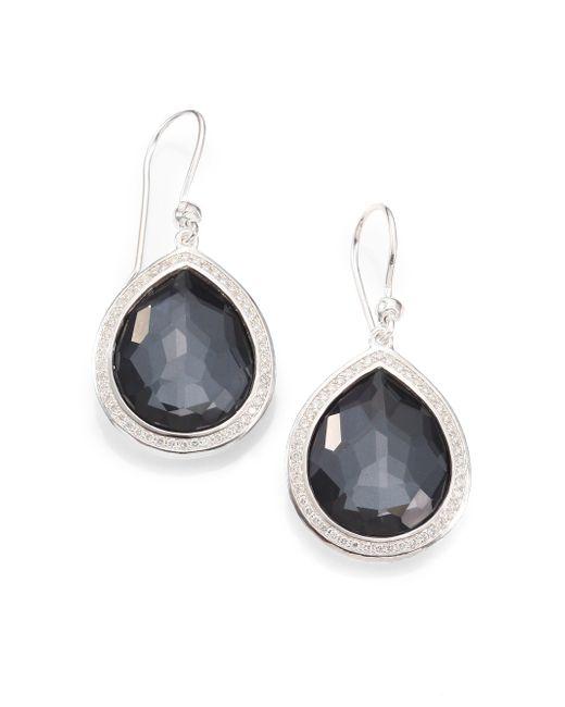 Ippolita | Metallic Diamond, Hematite Doublet & Sterling Silver Earrings | Lyst