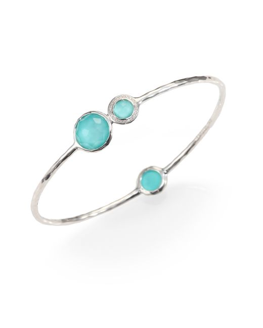 Ippolita | Metallic Stella Turquoise, Mother-of-pearl, Diamond & Sterling Silver Doublet Station Bangle Bracelet | Lyst