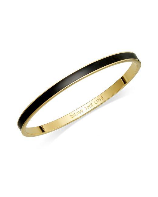 Kate Spade | Metallic Bracelet, 12k Gold-plated Black Enamel Draw The Line Idiom Bangle Bracelet | Lyst