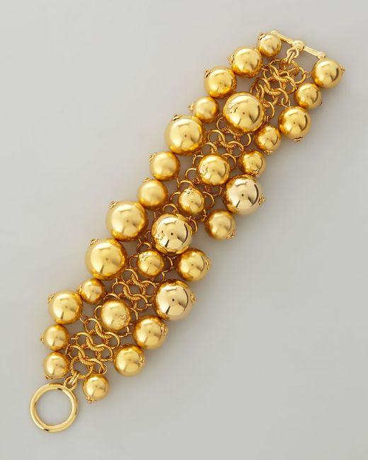 Kenneth Jay Lane | Metallic Golden Beaded Cluster Toggle Bracelet | Lyst