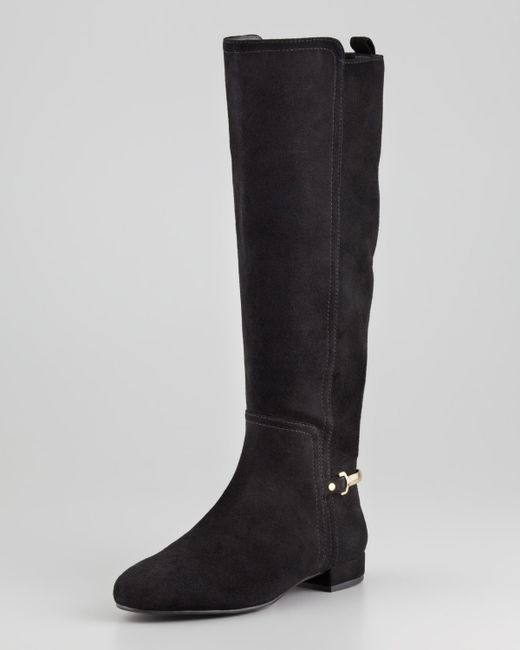 Tory burch Orsay Suede Knee-High Boots in Black - Save 34% | Lyst