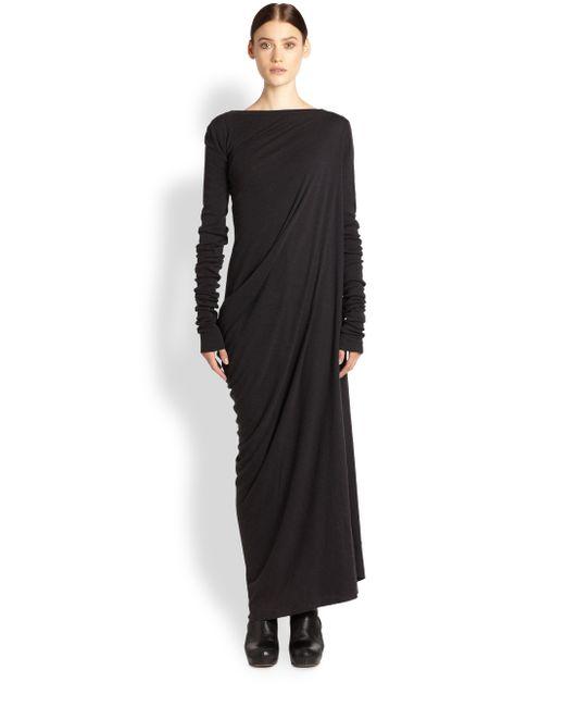 Rick Owens Lilies | Gray Jersey V-neck Dress | Lyst