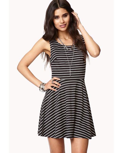 forever 21 cutout striped maxi dress in black blackwhite