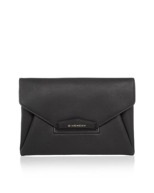 Givenchy | Black Antigona Medium Leather Envelope Clutch Bag  | Lyst