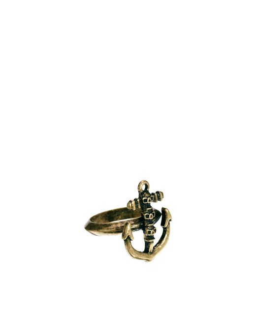 ASOS   Metallic Ring With Skull Anchor for Men   Lyst