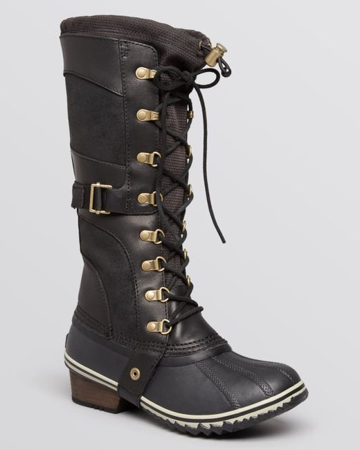 Sorel Conquest Carly Lace Up Cold Weather Boots In Black
