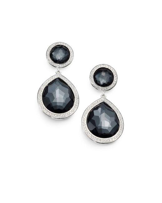 Ippolita   Metallic Stella Hematite, Diamond & Sterling Silver Two-stone Drop Earrings   Lyst