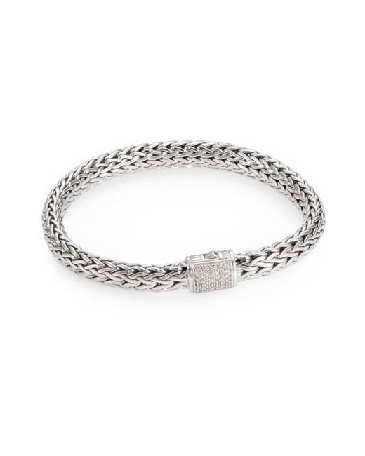 John Hardy   Metallic Classic Chain Diamond & Sterling Silver Medium Bracelet   Lyst