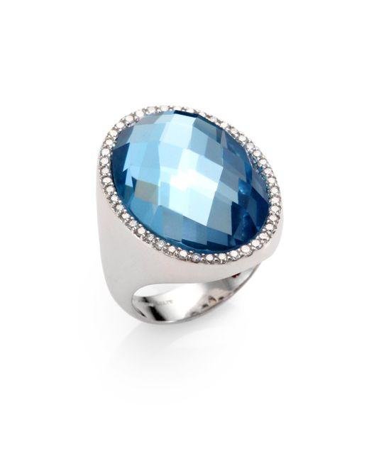 Roberto Coin   Metallic Cocktail Blue Topaz, Diamond & 18k White Gold Ring   Lyst