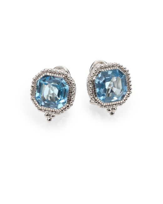 Judith Ripka | Metallic Estate Blue Topaz & Sterling Silver Square Earrings | Lyst