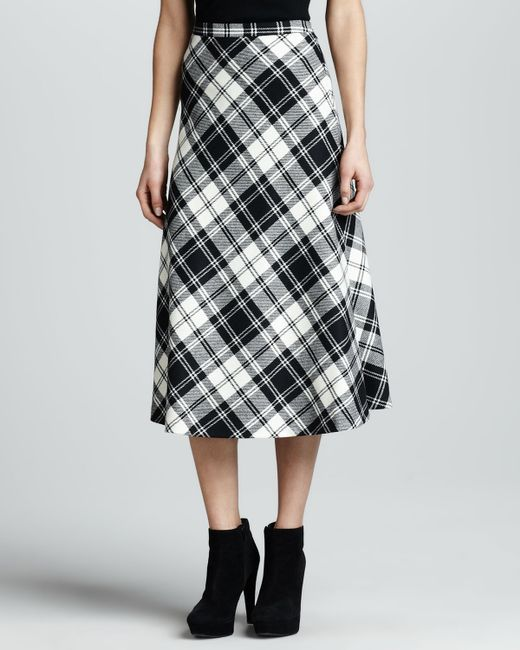 michael kors plaid aline skirt in black lyst. Black Bedroom Furniture Sets. Home Design Ideas