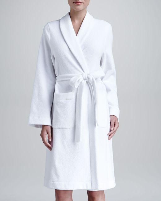 Hanro | White Plush Basic Tie-waist Robe | Lyst