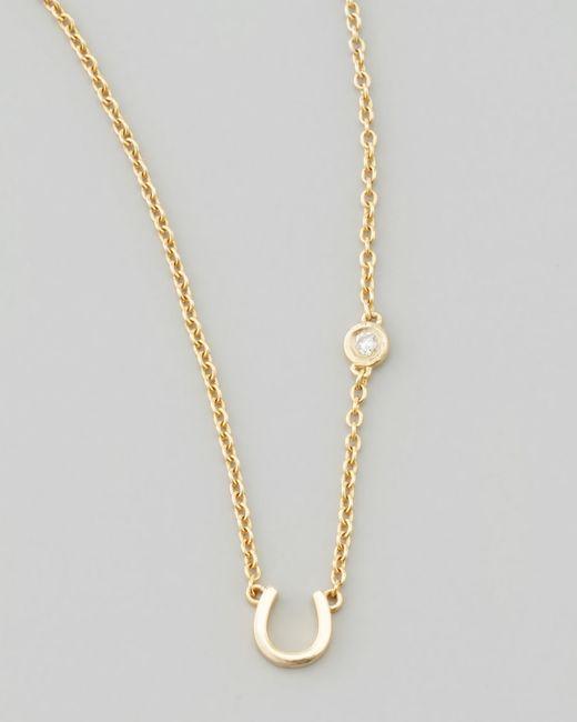 Shy By Sydney Evan | Metallic Horseshoe & Single-diamond Necklace | Lyst