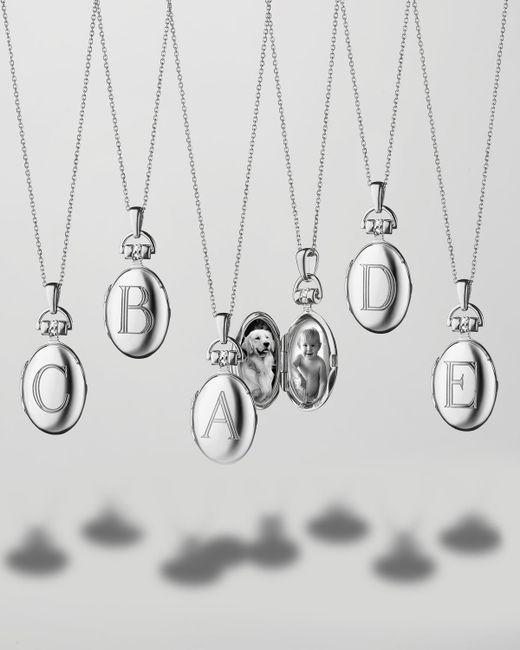 Monica Rich Kosann | Metallic Petite Sterling Silver Initial Locket Necklace | Lyst