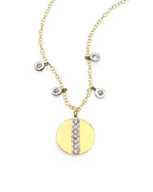Meira T | Metallic Diamond & 14k Yellow Gold Disc Pendant Necklace | Lyst