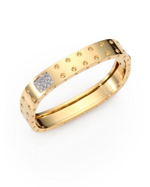 Roberto Coin | Metallic Pois Moi Diamond & 18k Yellow Gold Two-row Bangle Bracelet | Lyst