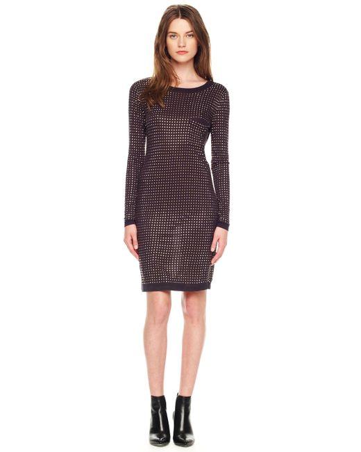 MICHAEL Michael Kors | Blue Studded Longsleeve Dress | Lyst