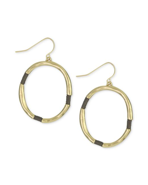 The Sak | Metallic Earrings, Gold-tone Brown Thread-wrapped Hoop Earrings | Lyst