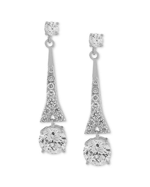 Carolee | Metallic Earrings, Silver-tone Cubic Zirconia Linear Drop Earrings (9-3/4 Ct. T.w.) | Lyst
