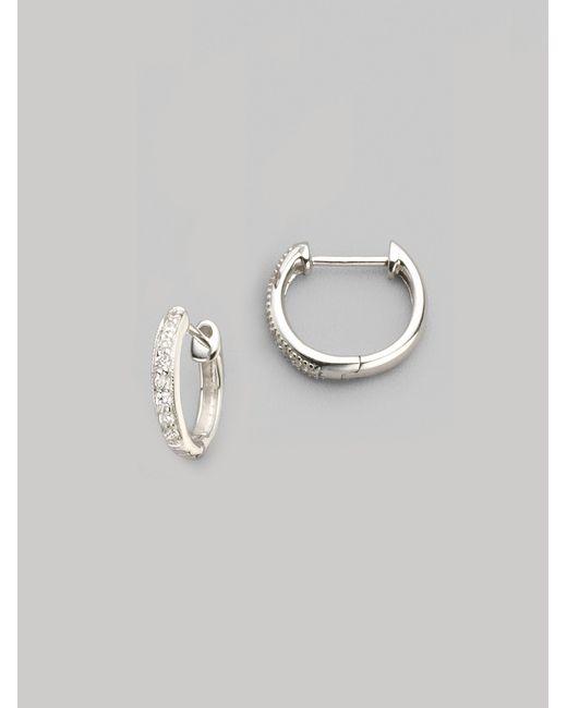 Jude Frances   Metallic Diamond & 18k White Gold Hoop Earrings/0.5   Lyst