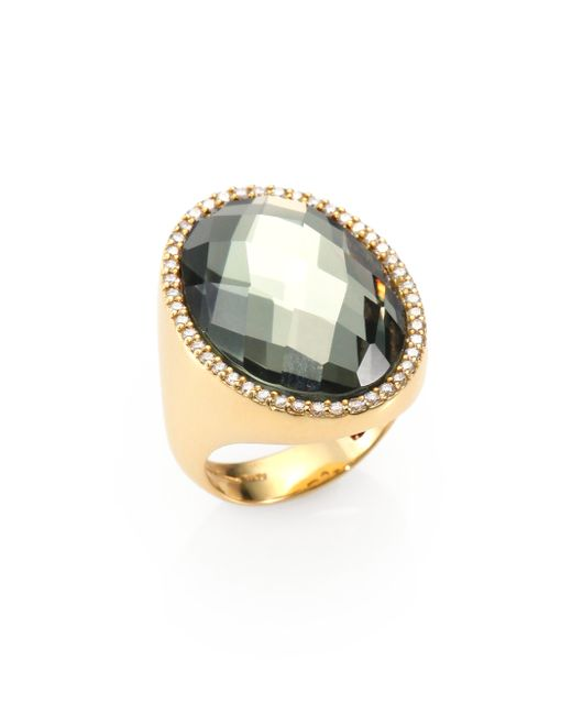 Roberto Coin | Metallic Cocktail Prasiolite, Diamond & 18k Yellow Gold Ring | Lyst