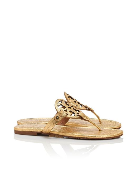 Tory Burch | Miller Sandal, Metallic Leather | Lyst
