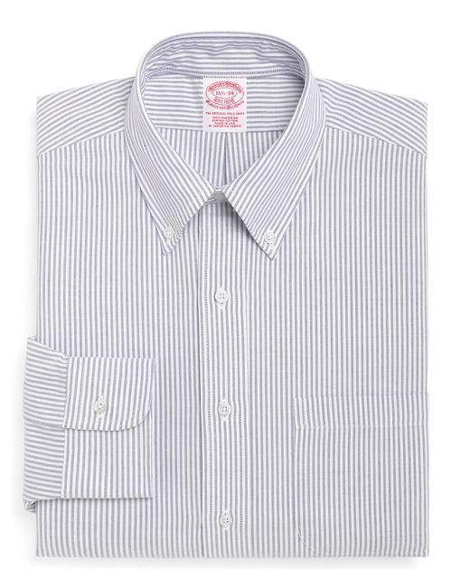 Brooks Brothers | Blue Traditional Fit Stripe Dress Shirt for Men | Lyst