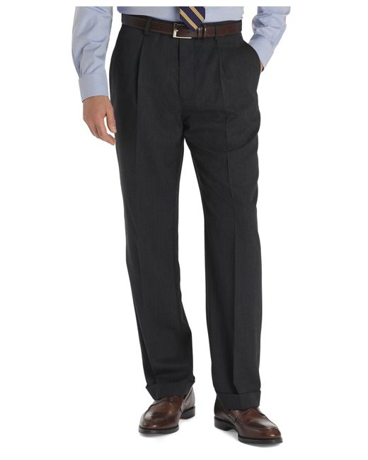 Brooks Brothers | Gray Regent Fit Pleat-front Classic Gabardine Trousers for Men | Lyst