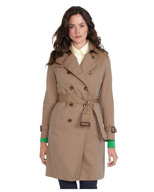 Brooks Brothers | Natural Petite Cotton Trench Coat | Lyst