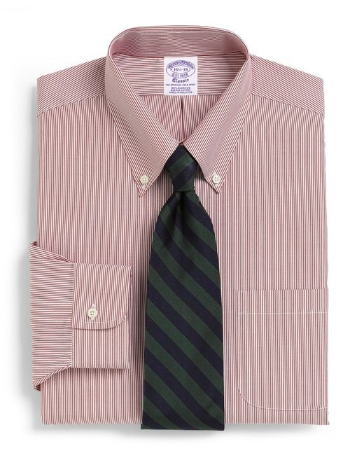 Brooks Brothers   Red Traditional Fit Stripe Dress Shirt for Men   Lyst