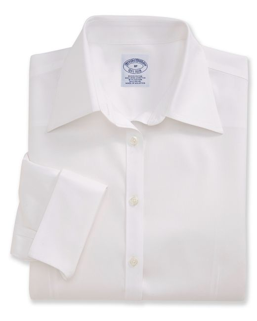 Brooks Brothers | White Petite Non-iron Fitted Three-quarter-sleeve Dress Shirt | Lyst