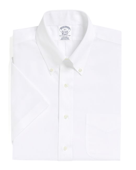 Brooks Brothers | White Non-iron Traditional Fit Short-sleeve Dress Shirt for Men | Lyst