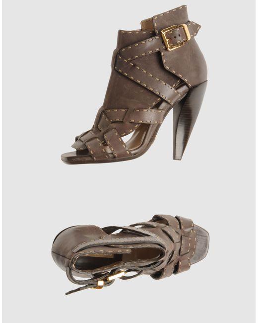 michael kors high heeled sandals in gray dove grey