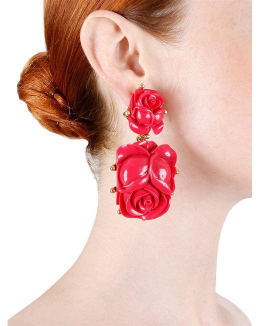 Oscar de la Renta   Multicolor Flower Earrings: Burgundy   Lyst