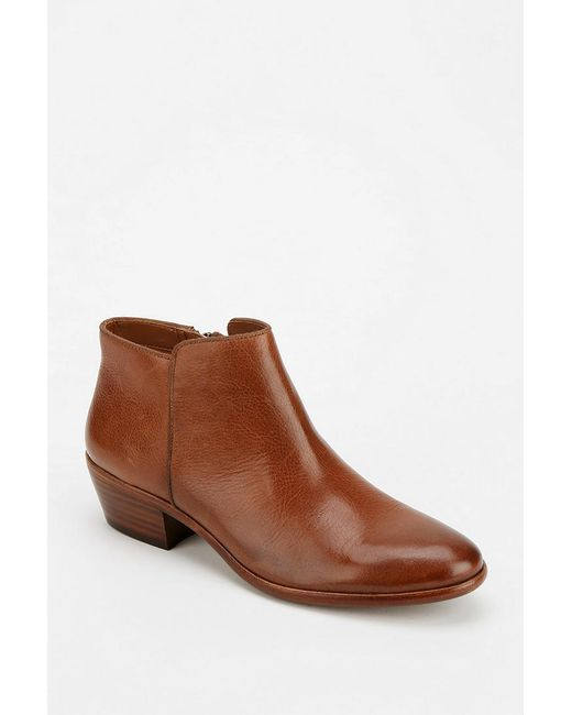 sam edelman petty leather ankle boot in brown lyst