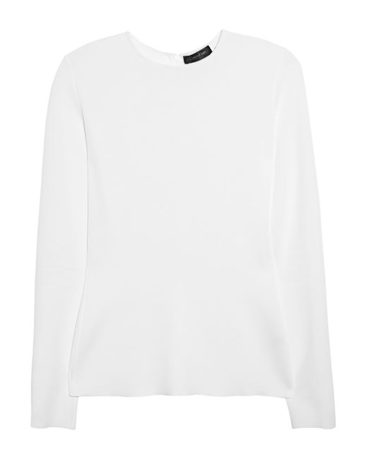 Calvin Klein | White Long-sleeve Leopard-trim Blouse | Lyst