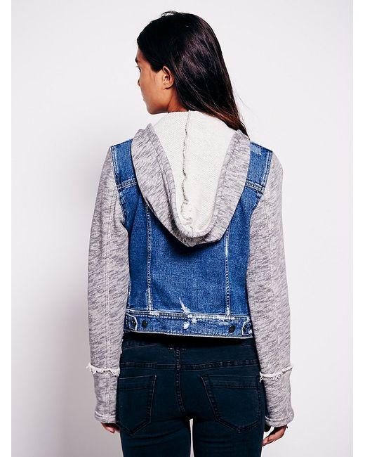 Free Knitting Pattern Hood Jacket : Free people Knit Hooded Denim Jacket in Blue Lyst