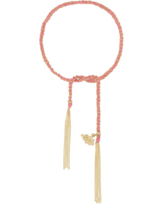 Carolina Bucci | Pink Baby Girl Lucky 18-Karat Rose Gold And Silk Charm Bracelet | Lyst