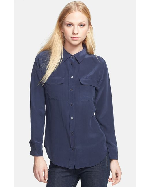 Equipment   Blue 'slim Signature' Silk Shirt   Lyst
