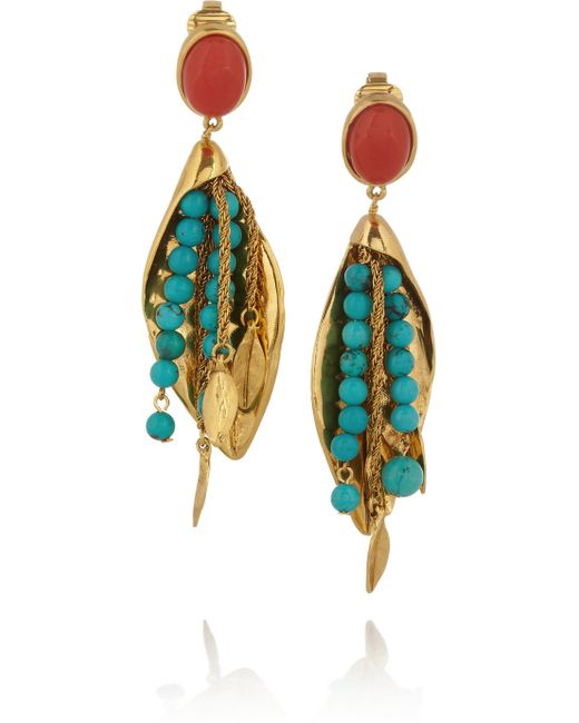 Aurelie Bidermann | Blue Monteroso Gold-Plated Turquoise Clip Earrings | Lyst
