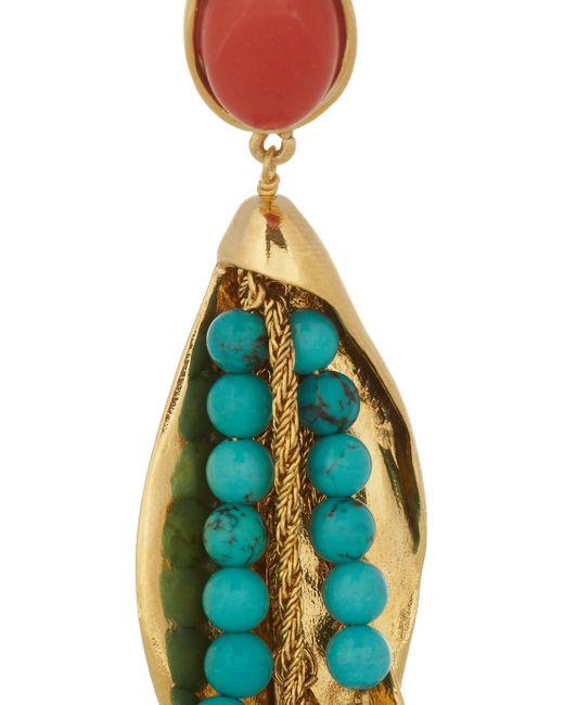 Aurelie Bidermann   Blue Aurélie Bidermann Pendant Earrings With Stones - Gold   Lyst
